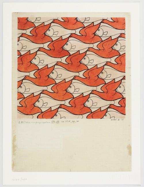 Escher Figurine Fish Bird Tesselation By M.C