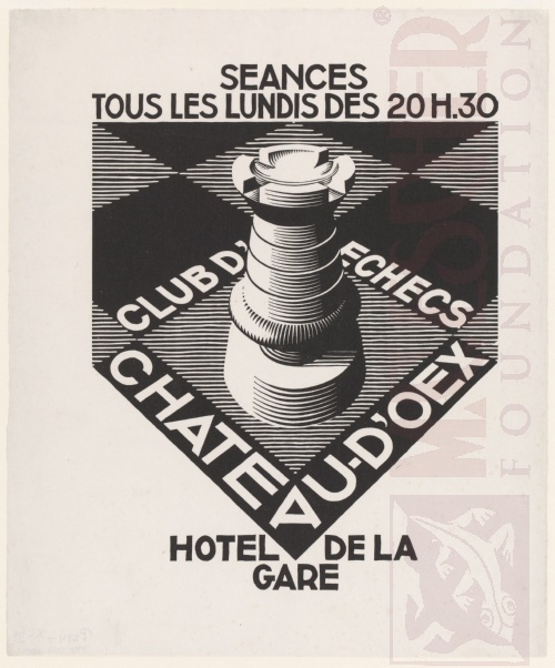 Advertisement Chess Club Chateau d'Oex. July 1936, Woodcut.