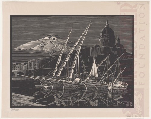 Catania, Sicily. November 1936, Wood engraving.