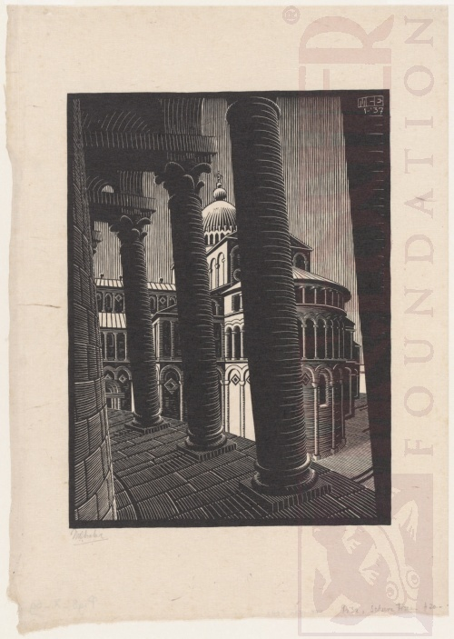 Leaning Tower, Pisa. January 1937, Woodcut.