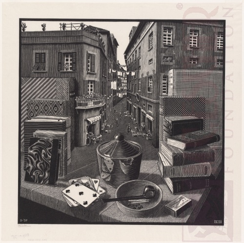 Still Life and Street. March 1937, Woodcut.
