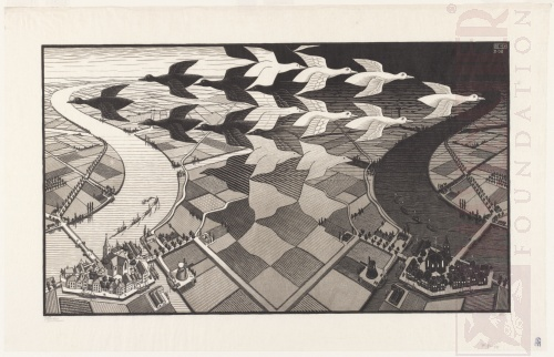 Day and Night. February 1938, Woodcut.