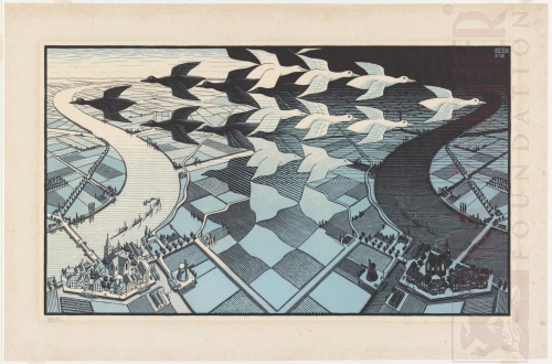 Day and Night. February 1938, Woodcut, blue variant.
