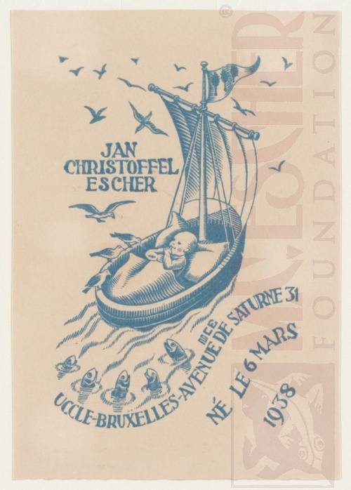 Birth announcement card of Jan Escher. March 1938. Woodcut.