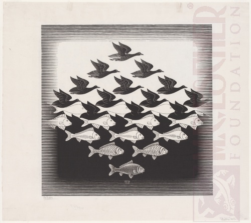Sky and Water I. June 1938, Woodcut.