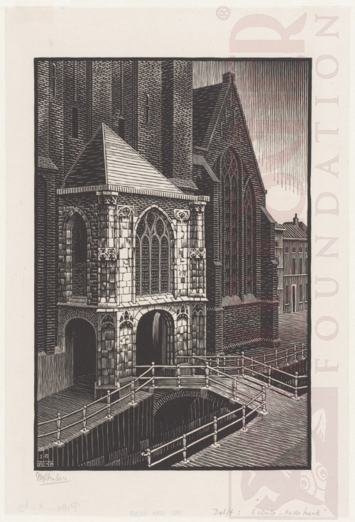 Delft: Entrance to the Oude Kerk. January 1939, Woodcut.