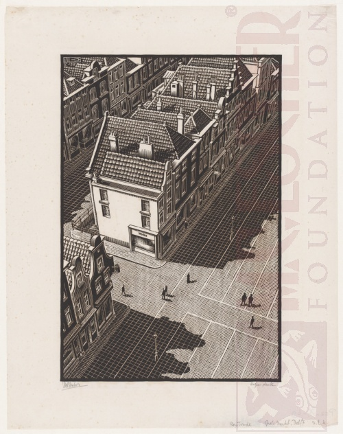 Delft: Grote Markt from the tower of the Nieuwe Kerk. May 1939, Woodcut.