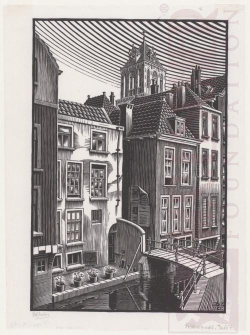Delft: Voldersgracht. June 1939, Woodcut.