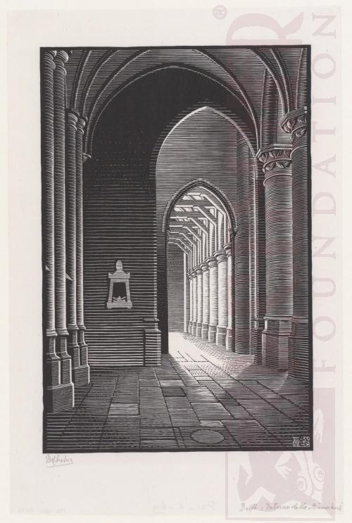 Delft: Interior Nieuwe Kerk. July 1939, Woodcut.