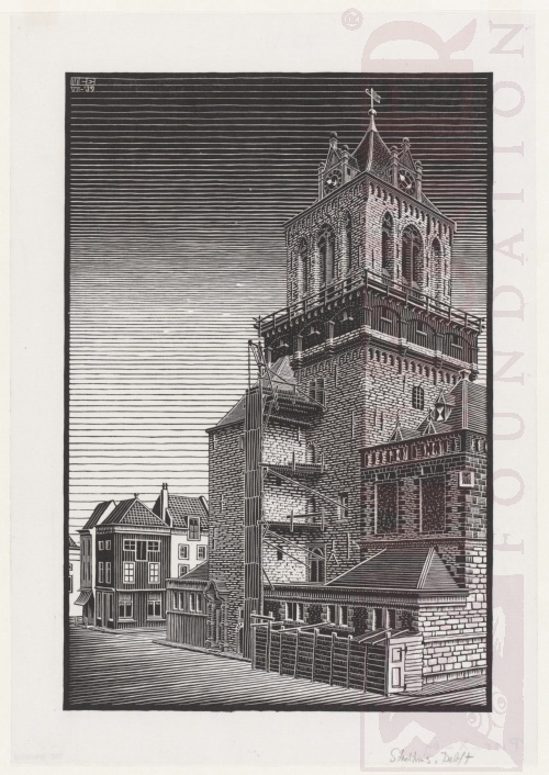 Delft: Town Hall. July 1939, Woodcut.