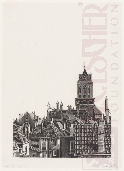 Delft: Roofs. August 1939, Woodcut.
