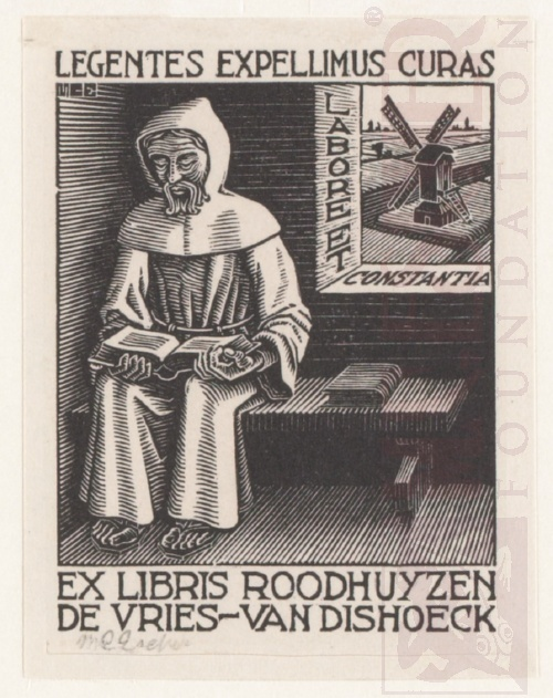 Bookplate D.H. Roodhuyzen de Vries - Van Dishoeck. June 1942, Wood Engraving.