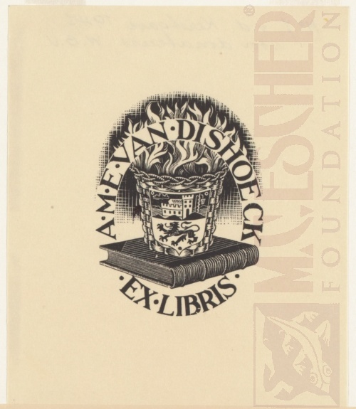 Bookplate A. M. E. van Dischoek. May 1943, Wood Engraving.