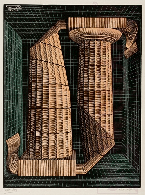 (Two) Doric Columns. August 1945, Wood Engraving, printed from three blocks.