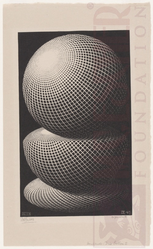 Three Spheres I. September 1945, Wood Engraving.