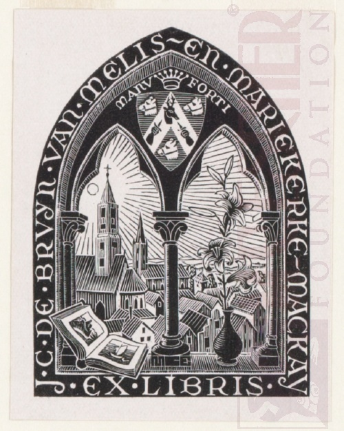 Bookplate J.C. de Bruyn van Melis- en Mariekerke-Mackay. June 1946, Wood Engraving.