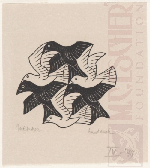 Plane-filling Motif with Birds. April 1949, Wood Engraving.