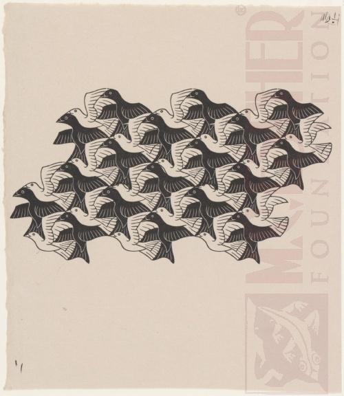 Regular Division of the Plane with Birds. April 1949, Wood Engraving.