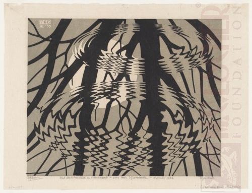 Rippled Surface. March 1950, Linoleum cut.