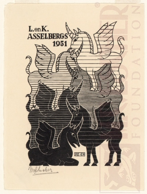 New Years greeting-card, L. and K. Asselbergs. October 1950, Wood Engraving.