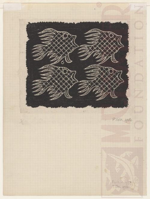 Plane FIlling motif with Fish and Bird. 1951, Linoleum cut.