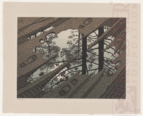 Puddle. February 1952, Woodcut, printed from 3 blocks.