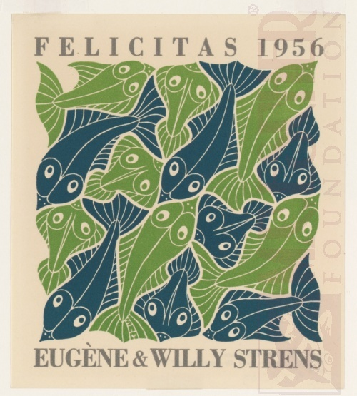 Water, New Year's greeting-card 1956. October 1952, Woodcut, printed from two blocks.