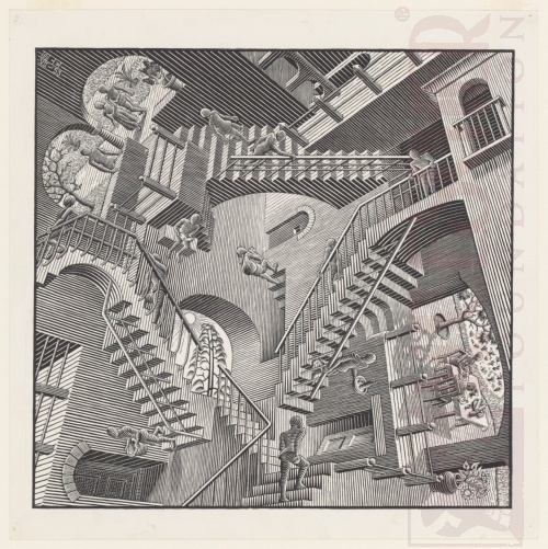 Relativity. July 1953, Woodcut.