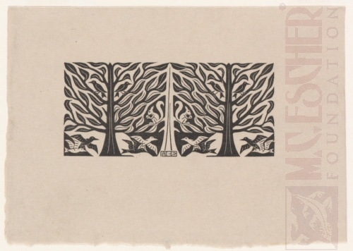 Trees and Animals. 1953, Wood Engraving.