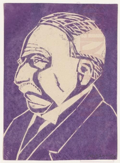 Escher's Father. 1916, Linoleum cut in purple.