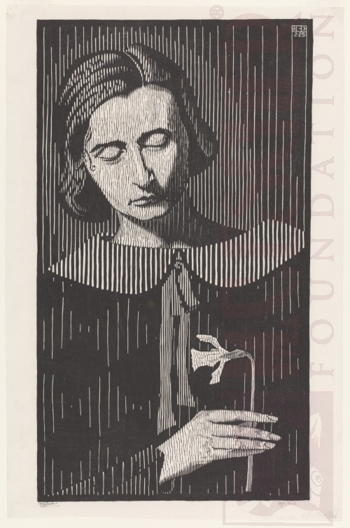 Portrait of G. Escher - Umiker (Jetta) . February 1925, Woodcut.