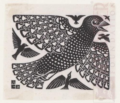 Birds. 1926, Woodcut.