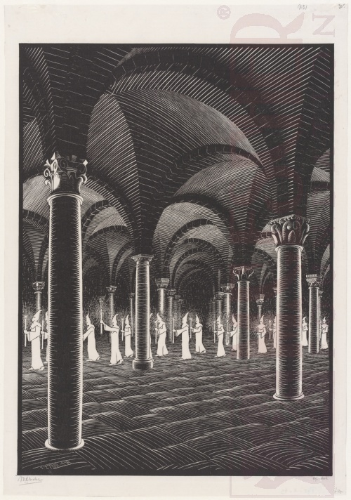 Procession in Crypt. July 1927, Woodcut.