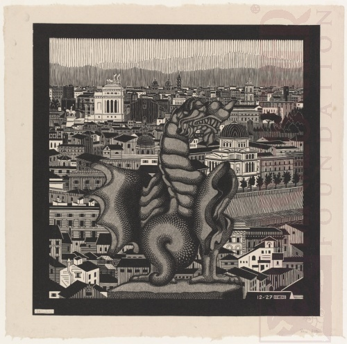 Rome (and the Griffin of Borghese). December 1927, Woodcut, printed from two blocks.