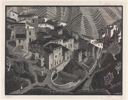 Fara San Maritino, Abruzzi. May 1928, Woodcut, printed from two blocks.