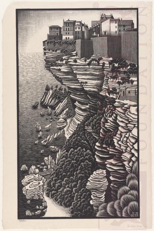 Bonifacio, Corsica. October 1928, Woodcut.