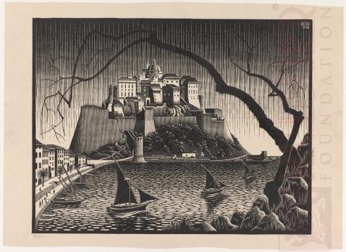 Citadel of Calvi, Corsica. October 1928, Woodcut.