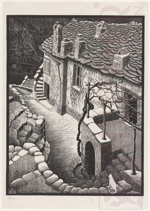Corte, Corsica. January 1929, Woodcut, printed from two blocks.