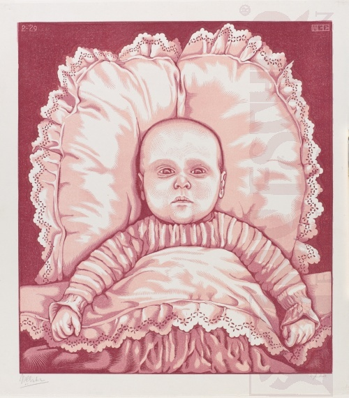 Infant (Arthur E. Escher). February 1929, Woodcut, printed from three blocks.