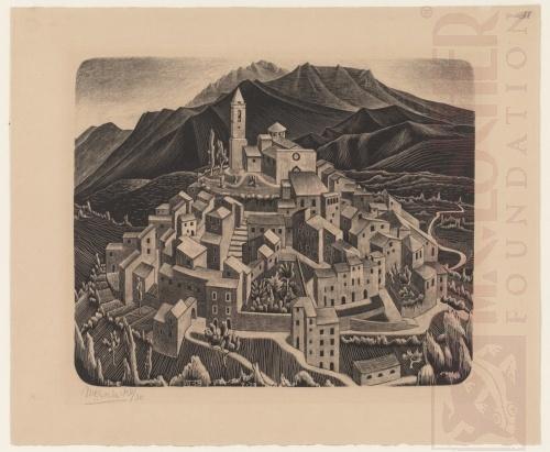 Goriano Sicoli, Abruzzi. July 1929, Lithograph.