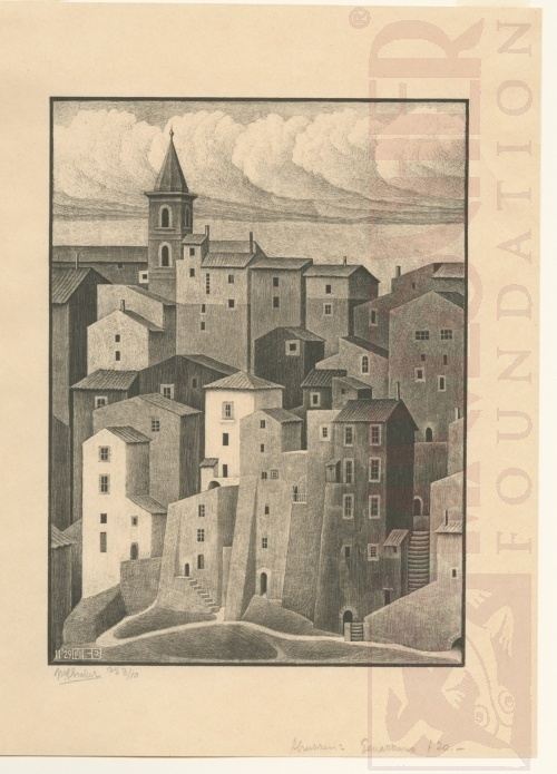 Genazzano, Abbruzzi. November 1939, Lithograph.
