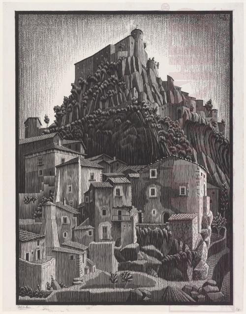 Cerro al Volturno, Abruzzi. January 1930, Woodcut.