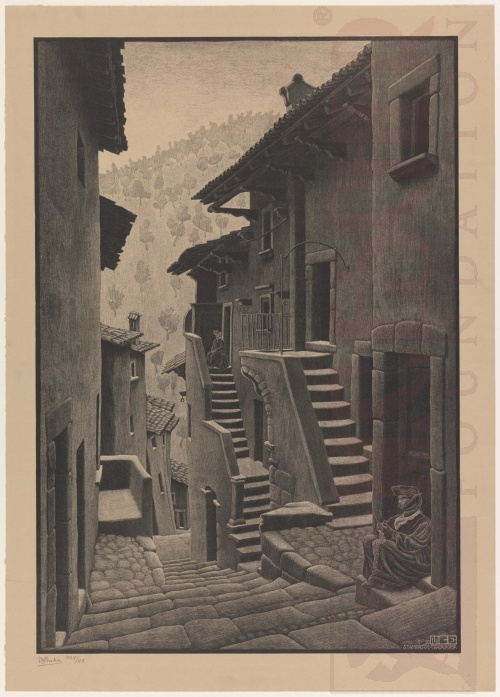 Street in Scanno, Abruzzi. January 1930, Lithograph.