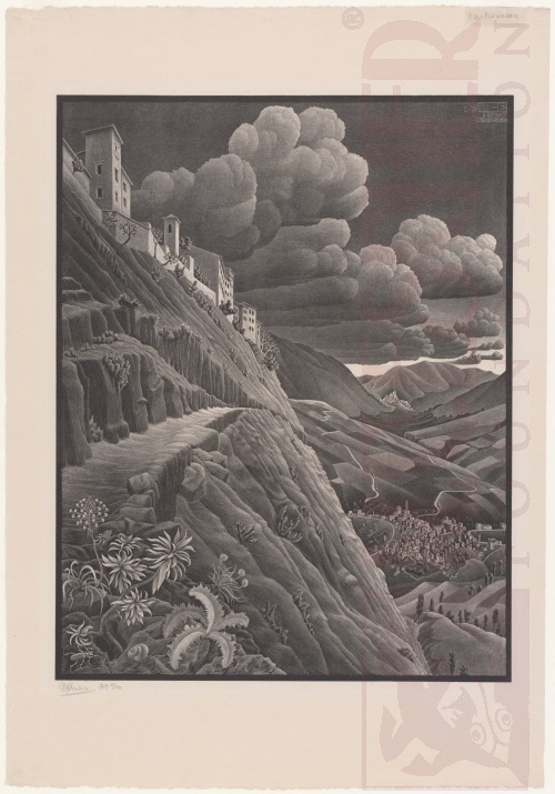 Castrovalva, Abruzzi. February 1930, Lithograph.