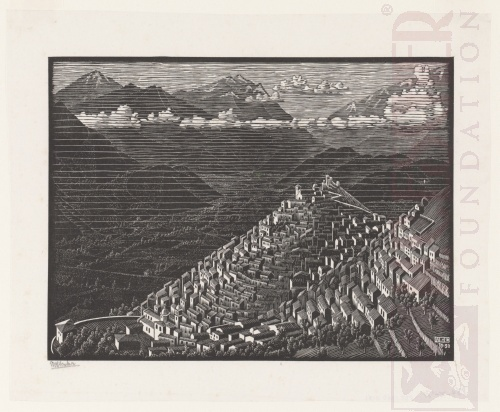 Morano, Calabria. October 1930, Woodcut.
