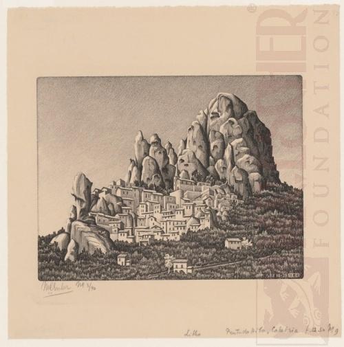 Pentedattilo, Calabria. October 1930, Lithograph.