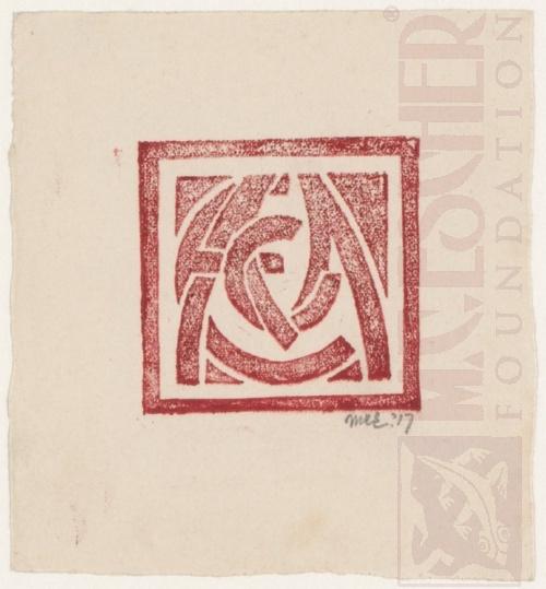 Monogram MCE. 1917, linoleum cut.