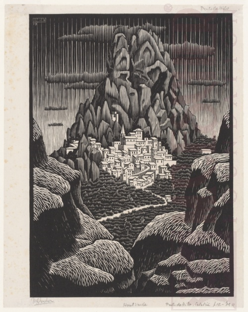 Pentedattilo, Calabria. January 1931, Woodcut.