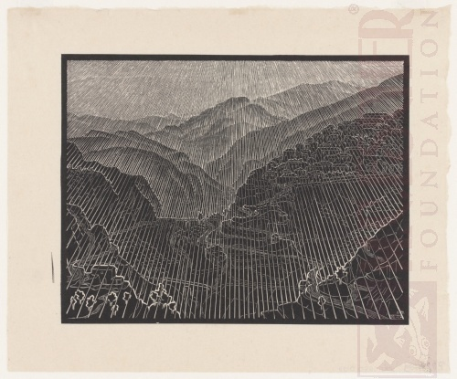 Rossano, Calabria. February 1931, Woodcut.
