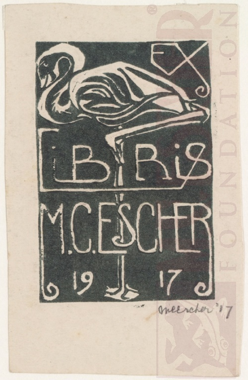 Bookplate M.C. Escher. 1917,Linoleum cut.